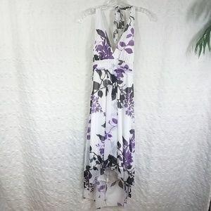 Speechless Boho Hi Lo Purple Floral Tie Back Dress